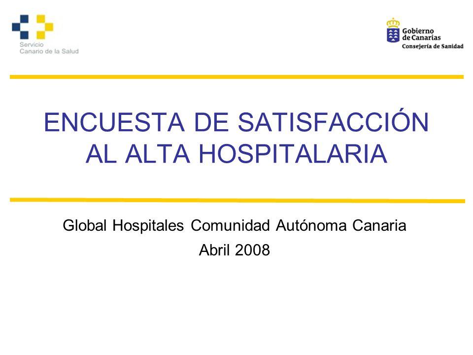 ENCUESTA DE SATISFACCIÓN AL ALTA HOSPITALARIA Global Hospitales Comunidad Autónoma Canaria Abril 2008