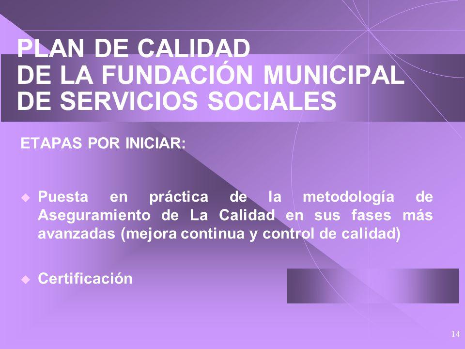 13 PLAN DE CALIDAD DE LA FUNDACIÓN MUNICIPAL DE SERVICIOS SOCIALES ETAPAS YA INICIADAS: Diagnóstico Formación inicial Definición de la Política de Cal