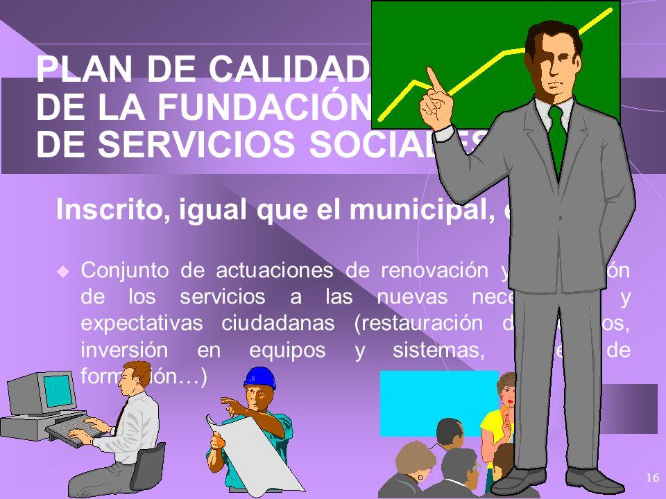 15 PLAN DE CALIDAD DE LA FUNDACIÓN MUNICIPAL DE SERVICIOS SOCIALES En normalización tenemos por delante: Continuar desarrollando el Sistema Documental