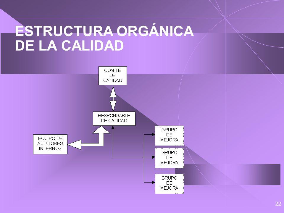 21 ESTRUCTURA ORGÁNICA DE LA CALIDAD Junta Rectora Comité de Calidad Responsable de Calidad Equipo de Auditores Internos Y Grupos de Mejora