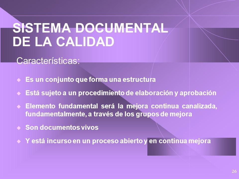 25 SISTEMA DOCUMENTAL DE LA CALIDAD Características: Se elabora en una primera etapa que va de mayo del 98 a abril del 99 en la que, de una manera u o