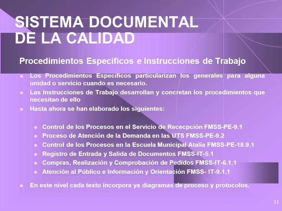 30 SISTEMA DOCUMENTAL DE LA CALIDAD Procedimientos Generales Siguen el mismo esquema que la norma y el Manual de Calidad. Se desarrolla en 19 procedim