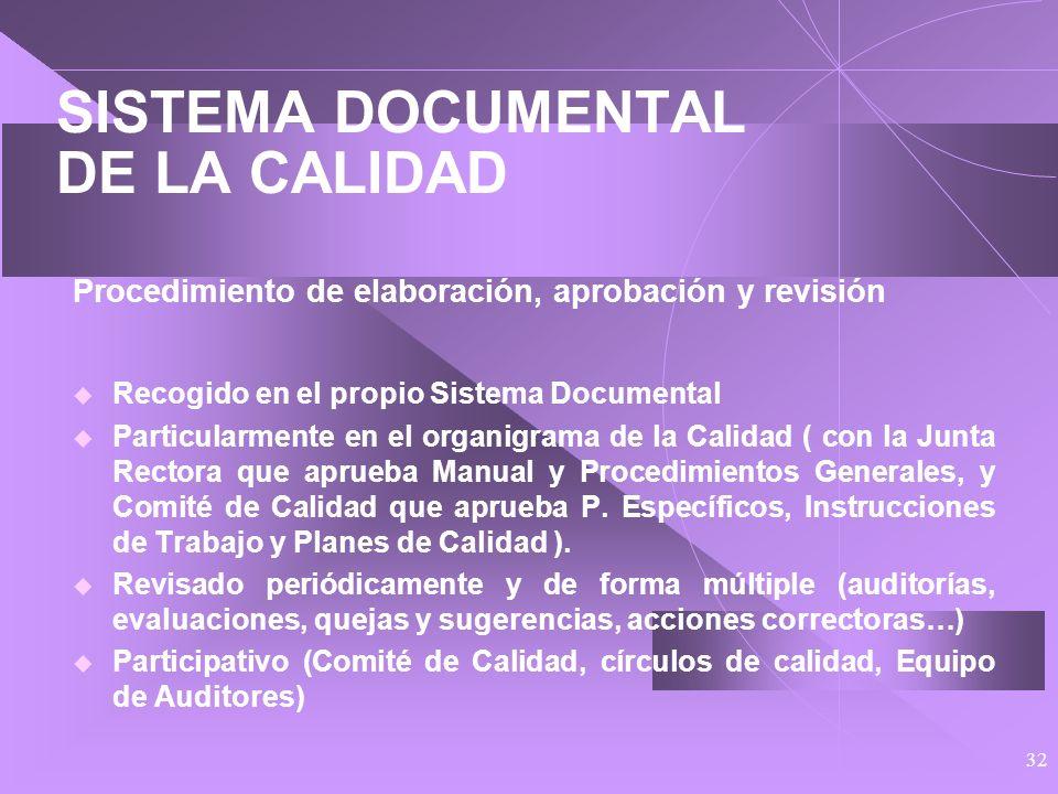 31 SISTEMA DOCUMENTAL DE LA CALIDAD Procedimientos Específicos e Instrucciones de Trabajo Los Procedimientos Específicos particularizan los generales