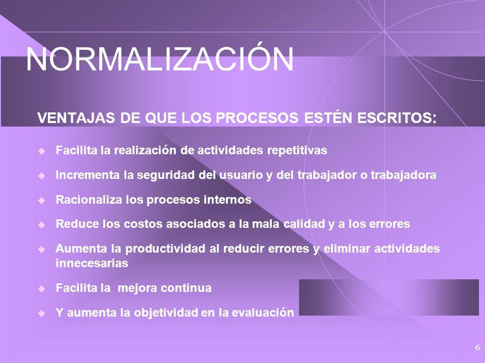 5 METODOLOGÍA DE LA CALIDAD TOTAL 2. EN QUÉ CONSISTE Y CÓMO SE HACE Normalización Consiste en estandarizar los procesos y productos Se hace escribiend