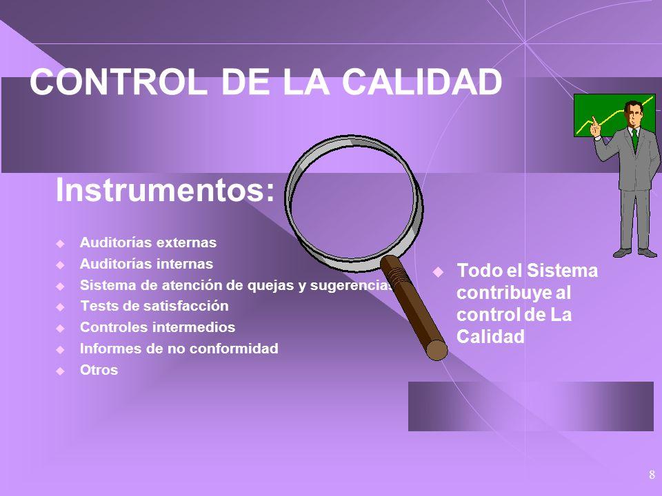 8 CONTROL DE LA CALIDAD Instrumentos: Auditorías externas Auditorías internas Sistema de atención de quejas y sugerencias Tests de satisfacción Controles intermedios Informes de no conformidad Otros Todo el Sistema contribuye al control de La Calidad