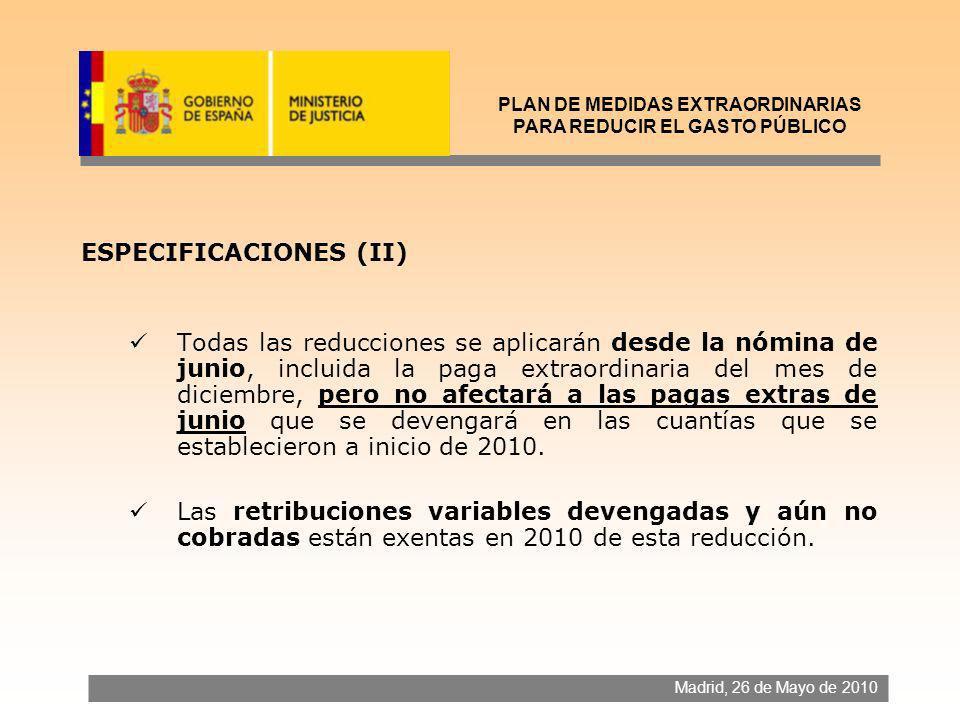 ESPECIFICACIONES (II) Todas las reducciones se aplicarán desde la nómina de junio, incluida la paga extraordinaria del mes de diciembre, pero no afect