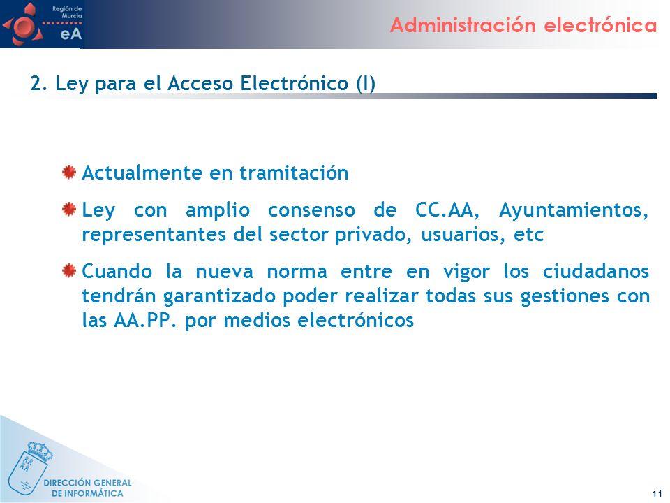 11 Administración electrónica 2. Ley para el Acceso Electrónico (I) Actualmente en tramitación Ley con amplio consenso de CC.AA, Ayuntamientos, repres