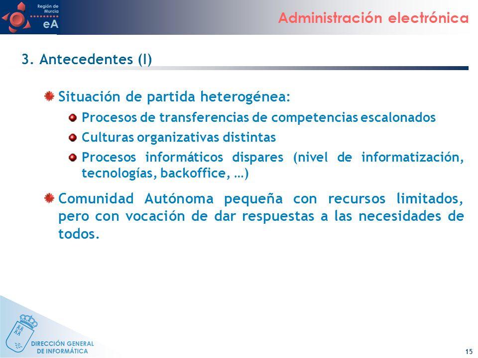 15 Administración electrónica 3. Antecedentes (I) Situación de partida heterogénea: Procesos de transferencias de competencias escalonados Culturas or