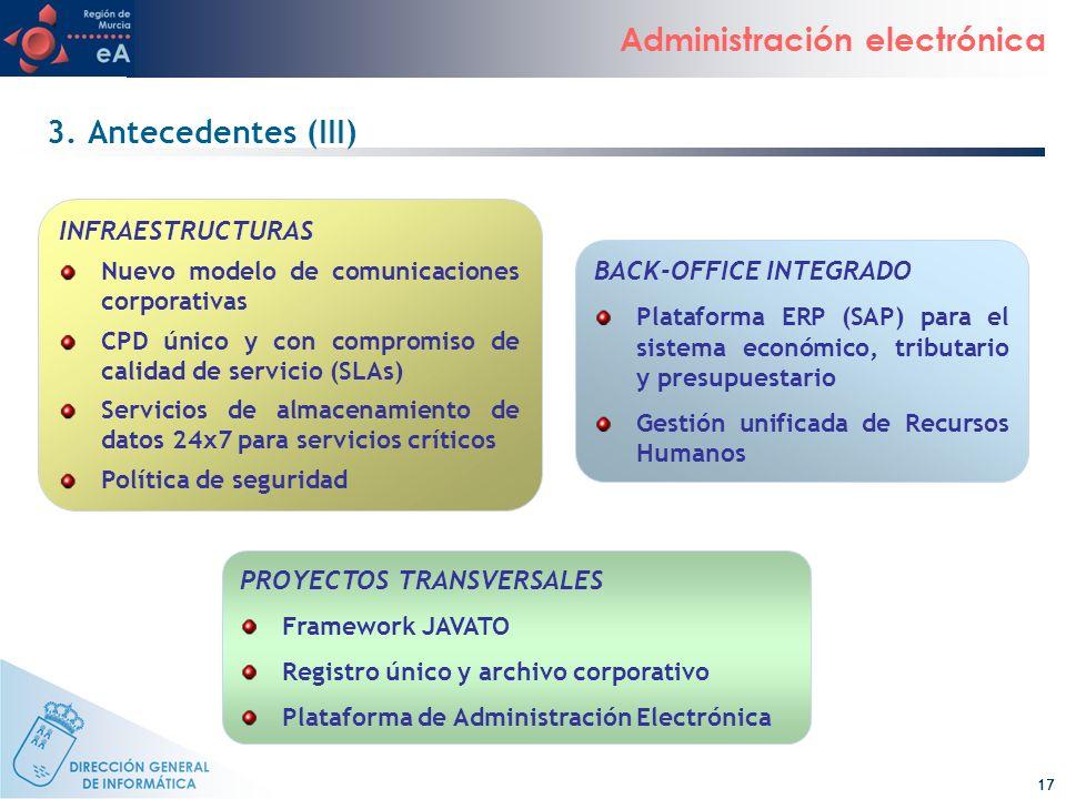 17 Administración electrónica 3. Antecedentes (III) INFRAESTRUCTURAS Nuevo modelo de comunicaciones corporativas CPD único y con compromiso de calidad