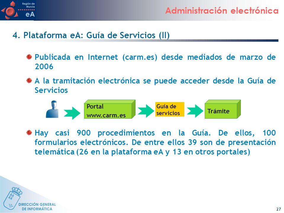 27 Administración electrónica 4. Plataforma eA: Guía de Servicios (II) Publicada en Internet (carm.es) desde mediados de marzo de 2006 A la tramitació
