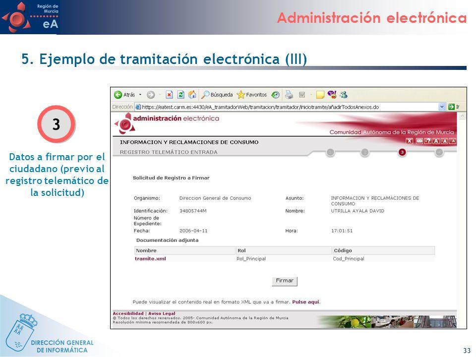 33 Administración electrónica 5. Ejemplo de tramitación electrónica (III) Datos a firmar por el ciudadano (previo al registro telemático de la solicit