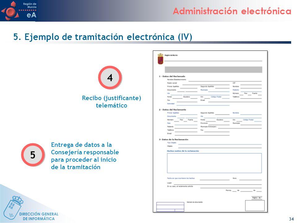 34 Administración electrónica Recibo (justificante) telemático Entrega de datos a la Consejería responsable para proceder al inicio de la tramitación