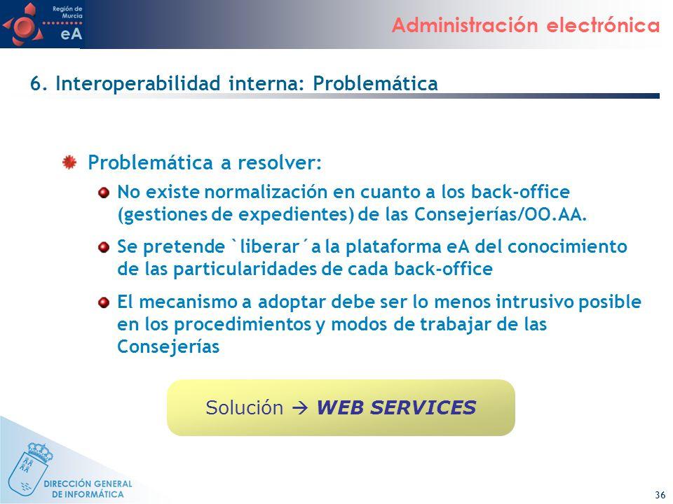 36 Administración electrónica 6. Interoperabilidad interna: Problemática Problemática a resolver: No existe normalización en cuanto a los back-office