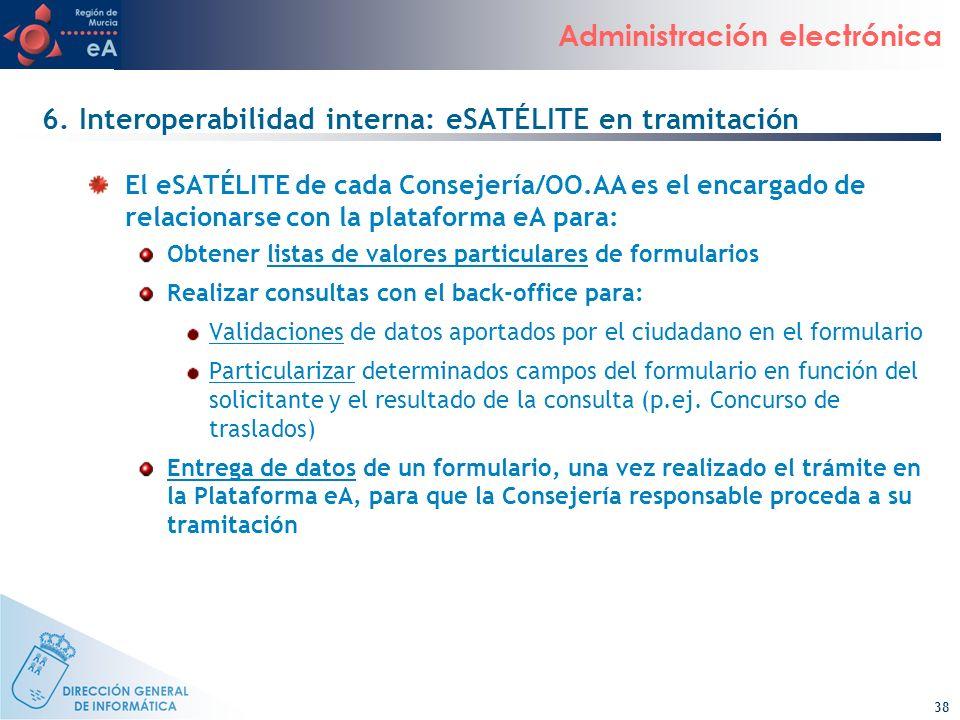 38 Administración electrónica 6. Interoperabilidad interna: eSATÉLITE en tramitación El eSATÉLITE de cada Consejería/OO.AA es el encargado de relacion