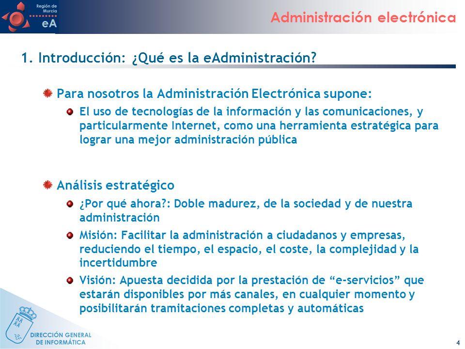 4 Administración electrónica 1. Introducción: ¿Qué es la eAdministración? Para nosotros la Administración Electrónica supone: El uso de tecnologías de