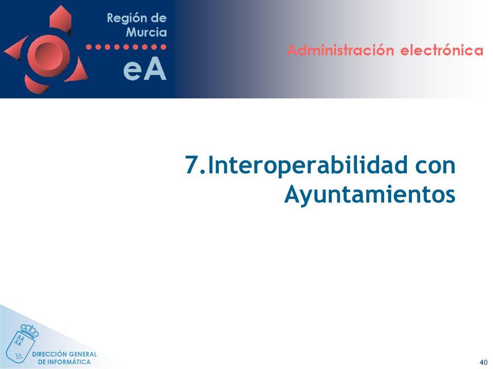 Administración electrónica 40 7.Interoperabilidad con Ayuntamientos