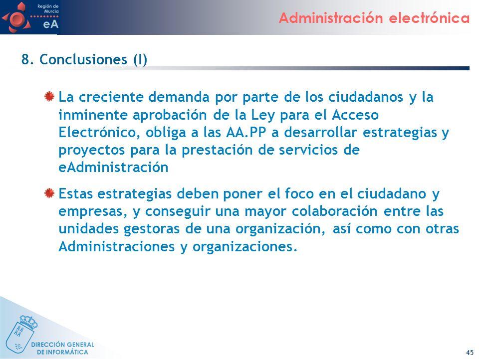 45 Administración electrónica 8. Conclusiones (I) La creciente demanda por parte de los ciudadanos y la inminente aprobación de la Ley para el Acceso