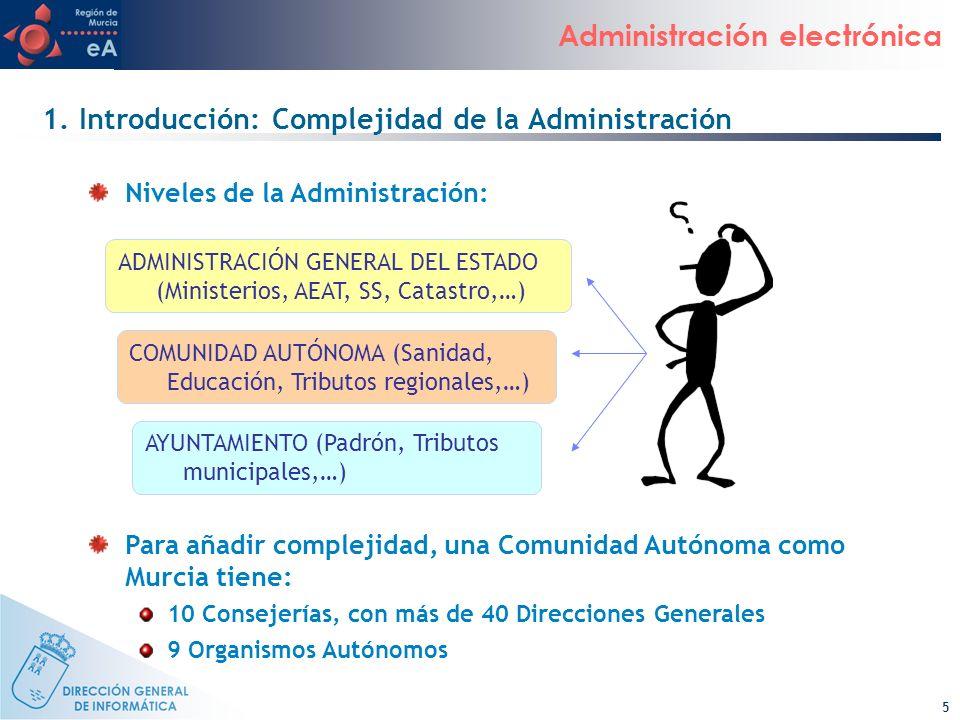 5 Administración electrónica ADMINISTRACIÓN GENERAL DEL ESTADO (Ministerios, AEAT, SS, Catastro,…) COMUNIDAD AUTÓNOMA (Sanidad, Educación, Tributos re