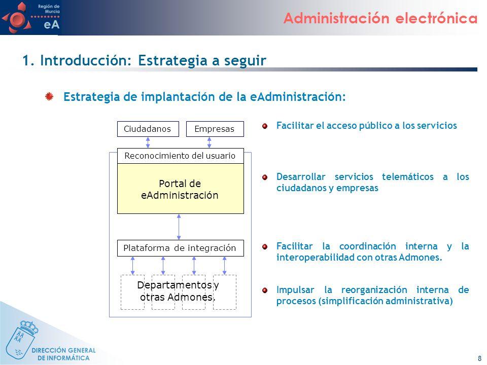 8 Administración electrónica CiudadanosEmpresas Reconocimiento del usuario Portal de eAdministración Plataforma de integración Departamentos y otras A