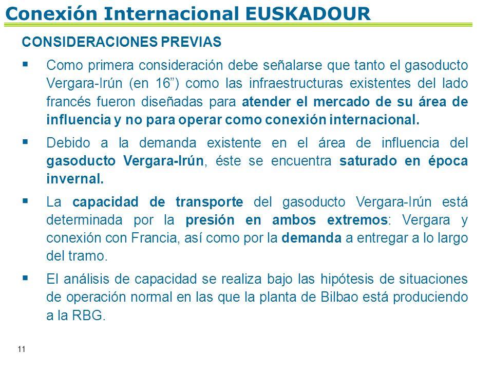 11 Conexión Internacional EUSKADOUR CONSIDERACIONES PREVIAS Como primera consideración debe señalarse que tanto el gasoducto Vergara-Irún (en 16) como