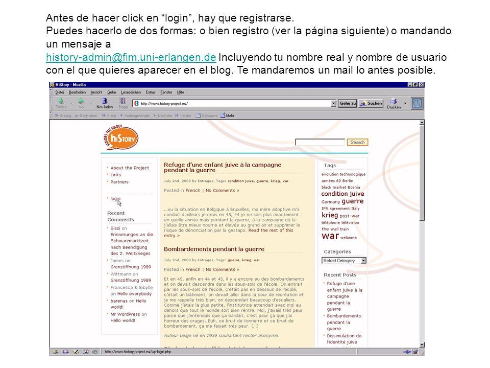 Antes de hacer click en login, hay que registrarse. Puedes hacerlo de dos formas: o bien registro (ver la página siguiente) o mandando un mensaje a hi