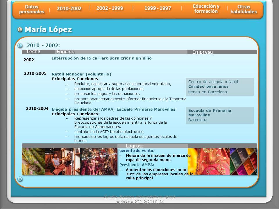 María López Función Fecha Fecha Empresa 2010 - 2002: 2010-2005 Centro de acogida infantil Caridad para niños tienda en Barcelona Retail Manager (volun