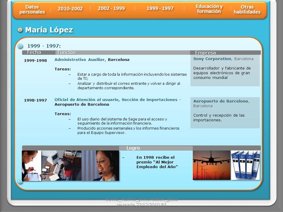 María López Función Fecha Fecha Empresa 1999 - 1997: 1998-1997 Sony Corporation, Barcelona Desarrollador y fabricante de equipos electrónicos de gran