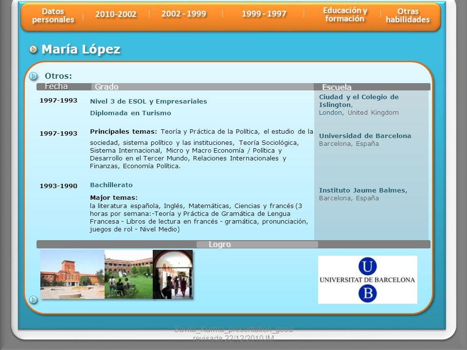 María López Grado Fecha Fecha Escuela Otros: 1993-1990 Ciudad y el Colegio de Islington, London, United Kingdom Universidad de Barcelona Barcelona, Es