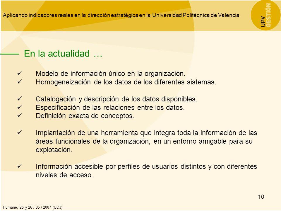 Aplicando indicadores reales en la dirección estratégica en la Universidad Politécnica de Valencia Humane, 25 y 26 / 05 / 2007 (UC3) 10 En la actualid