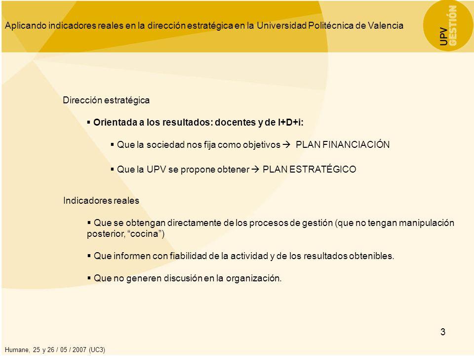 Aplicando indicadores reales en la dirección estratégica en la Universidad Politécnica de Valencia Humane, 25 y 26 / 05 / 2007 (UC3) 4 Unidades Gestión OBTENER FINANCIACIÓ N ADICIONAL FIJAR LA VARIACIÓN DESEADA OBJETIVOS DEL SISTEMA UNIVERSITARIO VALENCIANO IDENTIFICAR OBJETIVOS U.P.V.