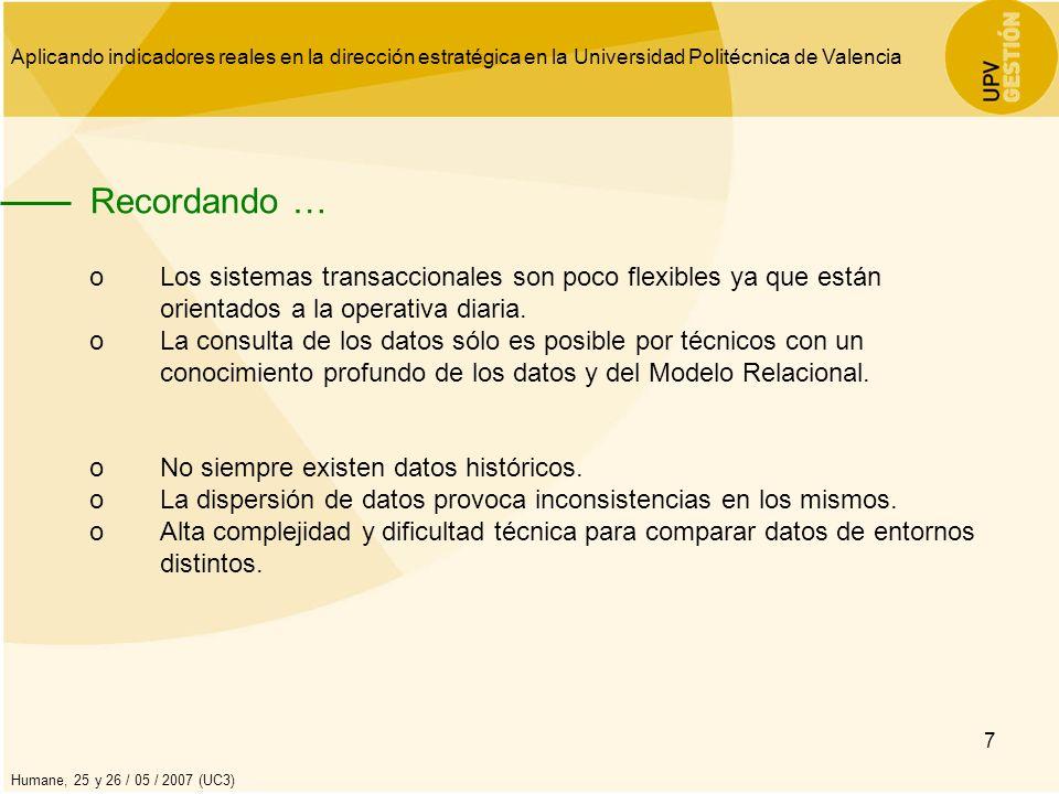 Aplicando indicadores reales en la dirección estratégica en la Universidad Politécnica de Valencia Humane, 25 y 26 / 05 / 2007 (UC3) 8 Como consecuencia … oSe dedica más tiempo a la obtención de datos que al análisis de la información.