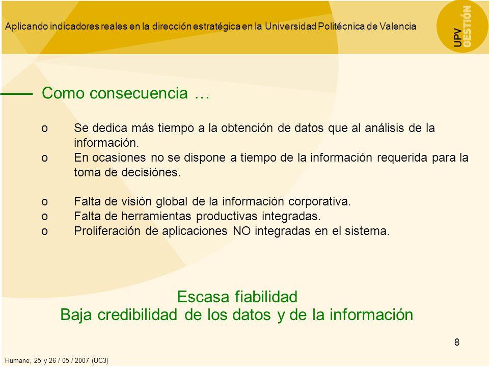 Aplicando indicadores reales en la dirección estratégica en la Universidad Politécnica de Valencia Humane, 25 y 26 / 05 / 2007 (UC3) 8 Como consecuenc