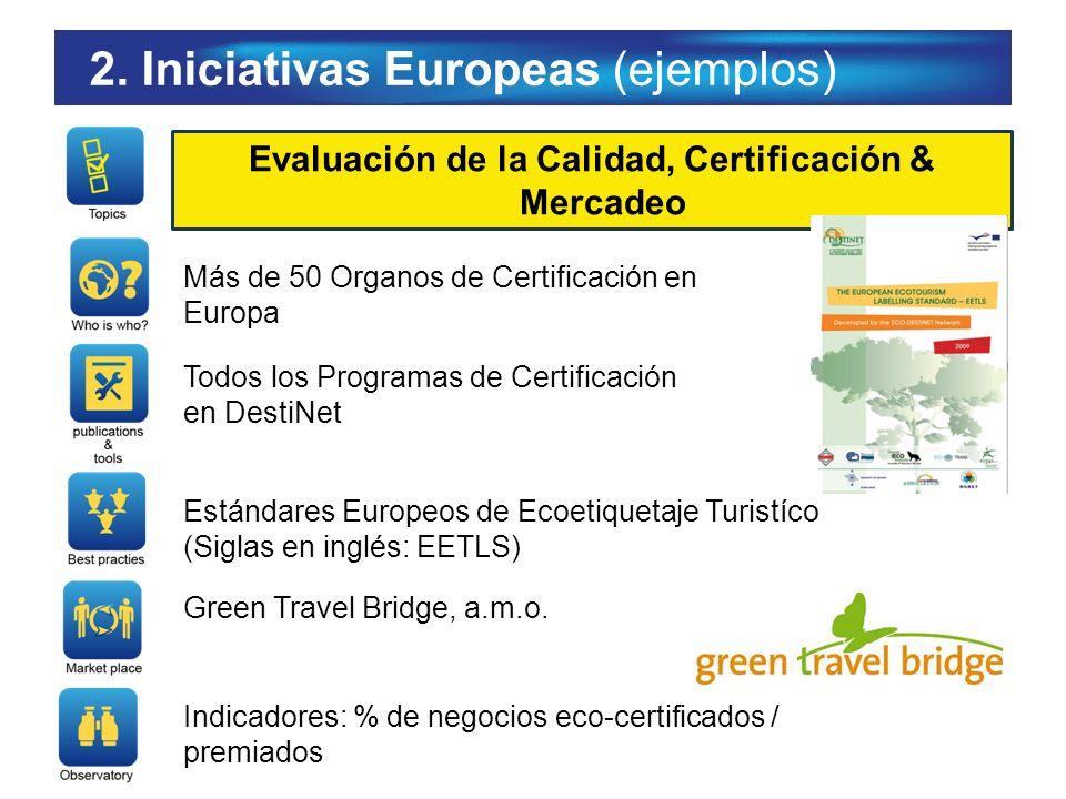2. Iniciativas Europeas (ejemplos) Evaluación de la Calidad, Certificación & Mercadeo Más de 50 Organos de Certificación en Europa Todos los Programas