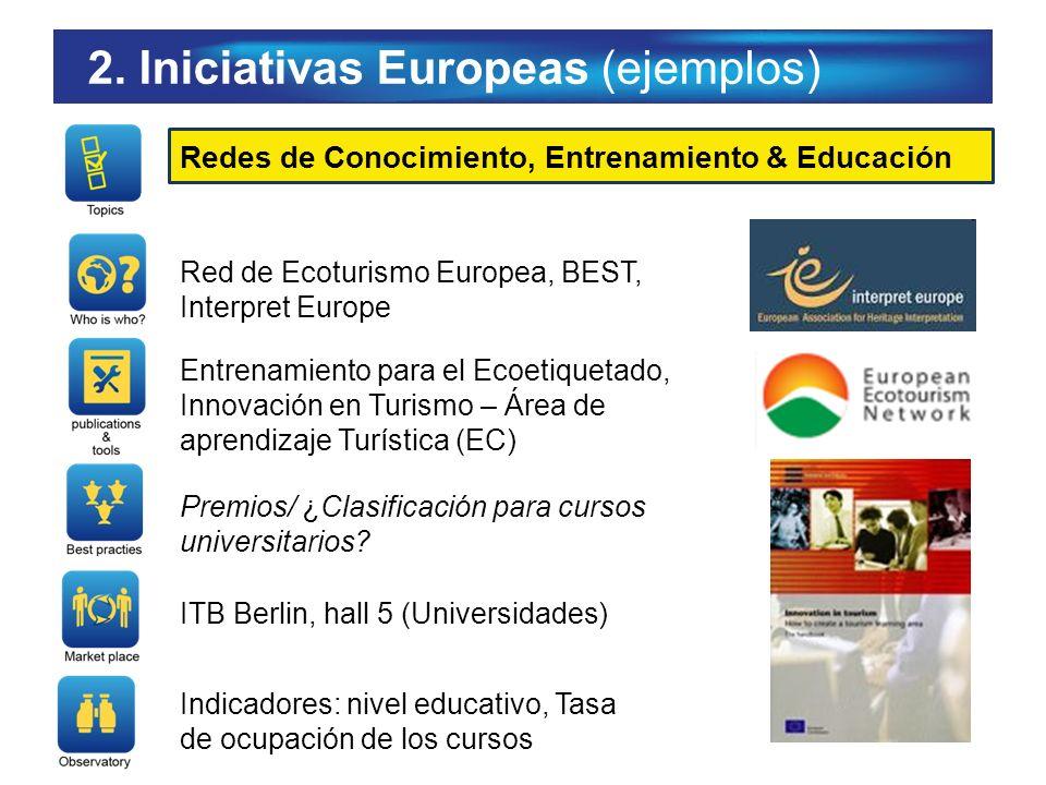 2. Iniciativas Europeas (ejemplos) Redes de Conocimiento, Entrenamiento & Educación Red de Ecoturismo Europea, BEST, Interpret Europe Entrenamiento pa
