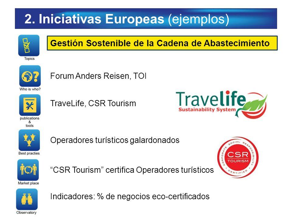 2. Iniciativas Europeas (ejemplos) Gestión Sostenible de la Cadena de Abastecimiento Forum Anders Reisen, TOI TraveLife, CSR Tourism Operadores turíst