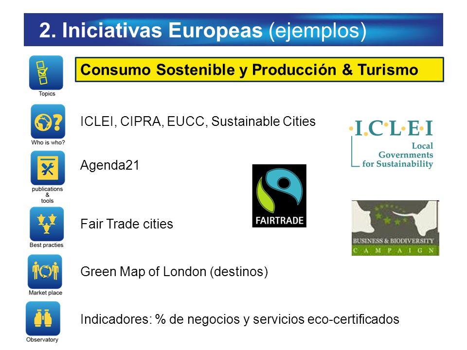 2. Iniciativas Europeas (ejemplos) Consumo Sostenible y Producción & Turismo ICLEI, CIPRA, EUCC, Sustainable Cities Agenda21 Fair Trade cities Green M