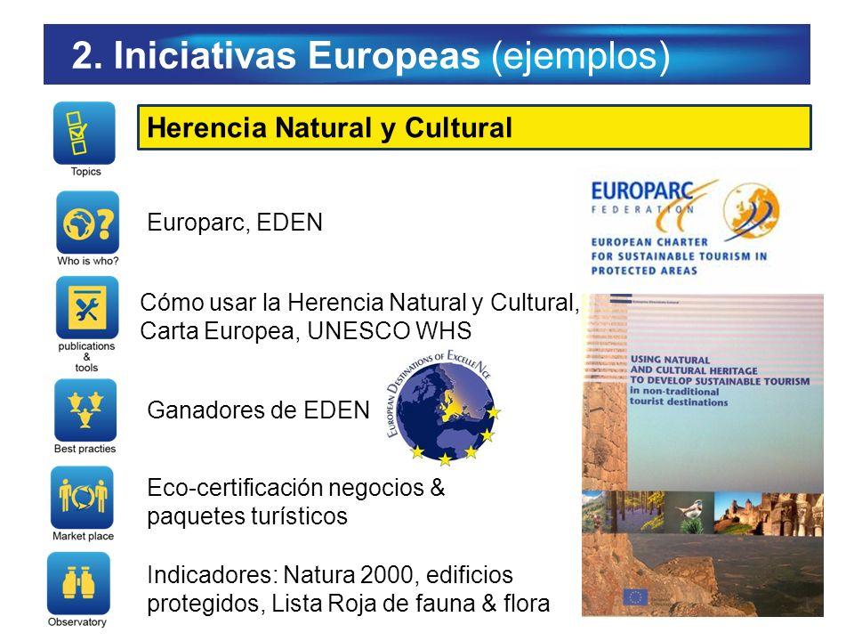 2. Iniciativas Europeas (ejemplos) Herencia Natural y Cultural Europarc, EDEN Cómo usar la Herencia Natural y Cultural, Carta Europea, UNESCO WHS Gana