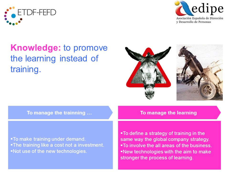 Knowledge: to promove the learning instead of training.