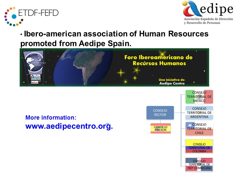 Ibero-american association of Human Resources promoted from Aedipe Spain.