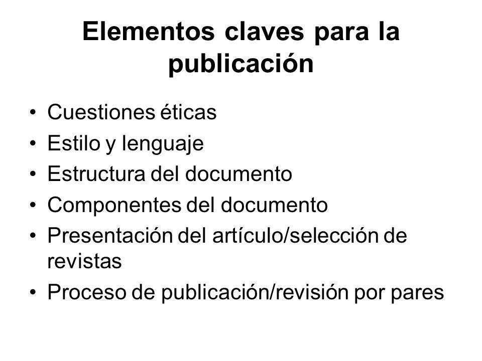 Elementos claves para la publicación Cuestiones éticas Estilo y lenguaje Estructura del documento Componentes del documento Presentación del artículo/