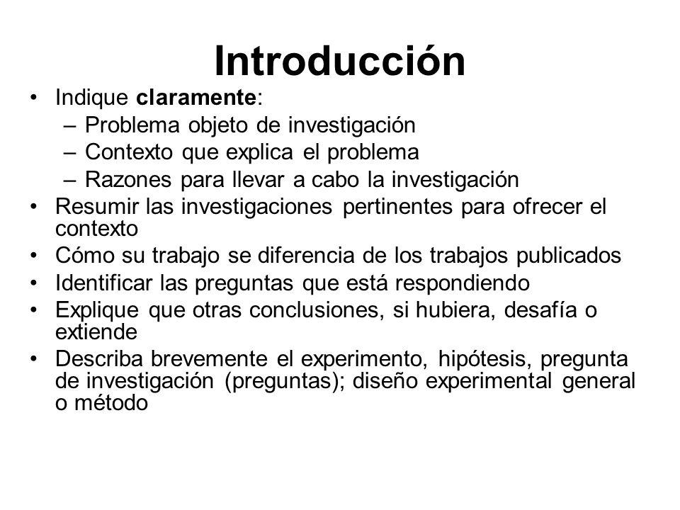 Introducción Indique claramente: –Problema objeto de investigación –Contexto que explica el problema –Razones para llevar a cabo la investigación Resu