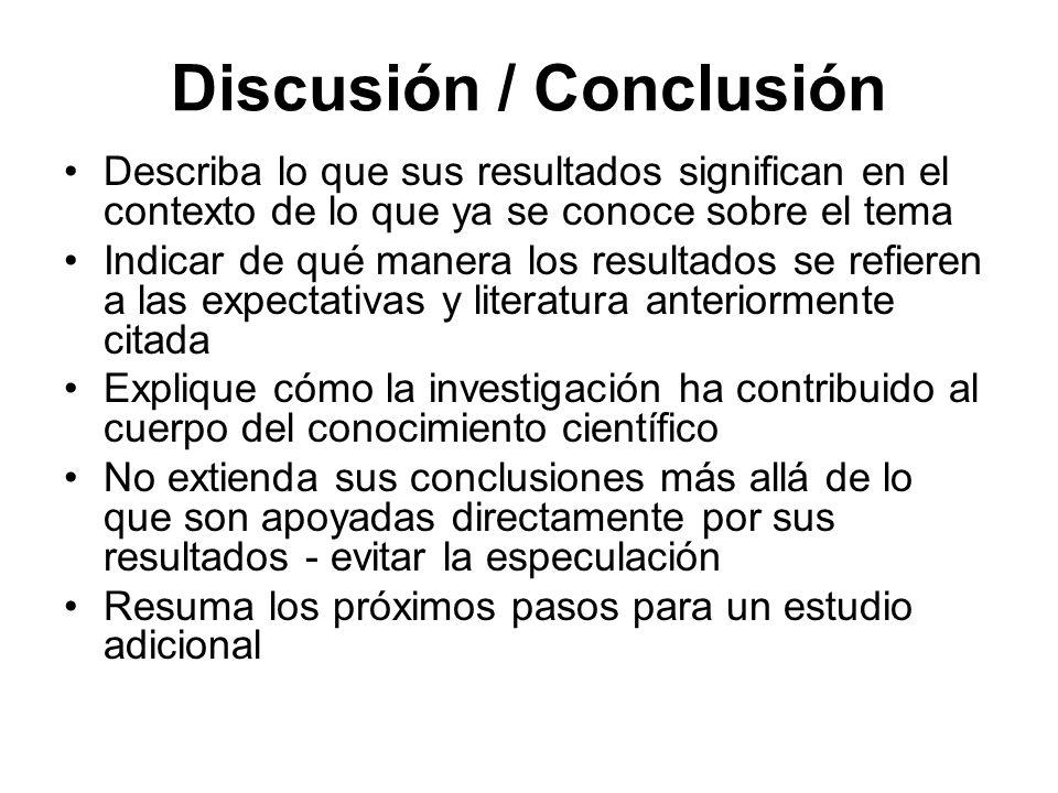 Discusión / Conclusión Describa lo que sus resultados significan en el contexto de lo que ya se conoce sobre el tema Indicar de qué manera los resulta