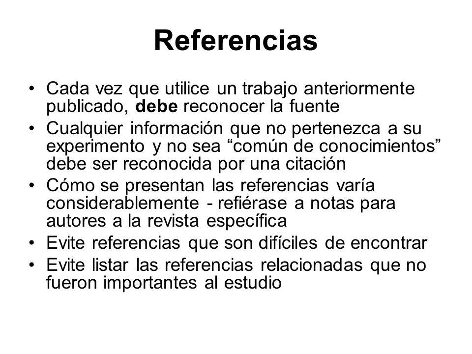Referencias Cada vez que utilice un trabajo anteriormente publicado, debe reconocer la fuente Cualquier información que no pertenezca a su experimento