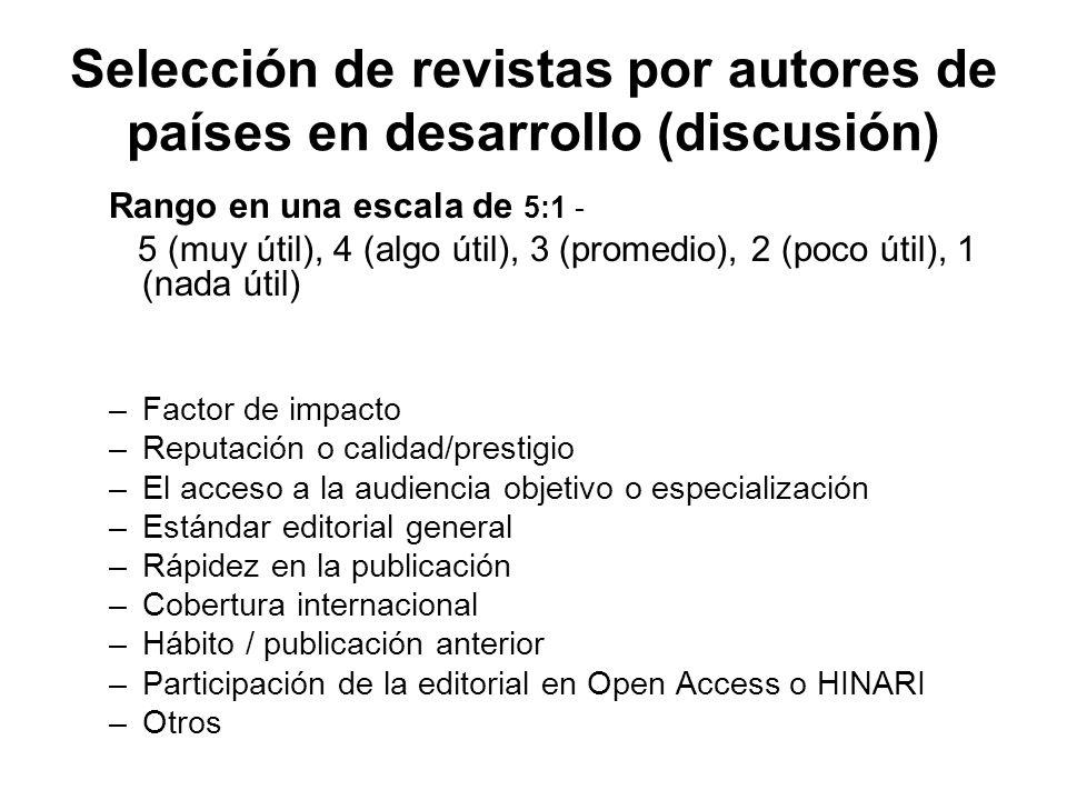Selección de revistas por autores de países en desarrollo (discusión) Rango en una escala de 5:1 - 5 (muy útil), 4 (algo útil), 3 (promedio), 2 (poco