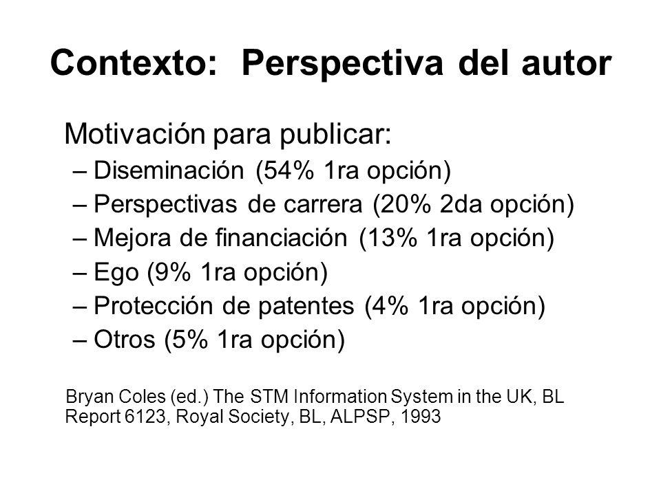 Contexto: Perspectiva del autor Motivación para publicar: –Diseminación (54% 1ra opción) –Perspectivas de carrera (20% 2da opción) –Mejora de financia