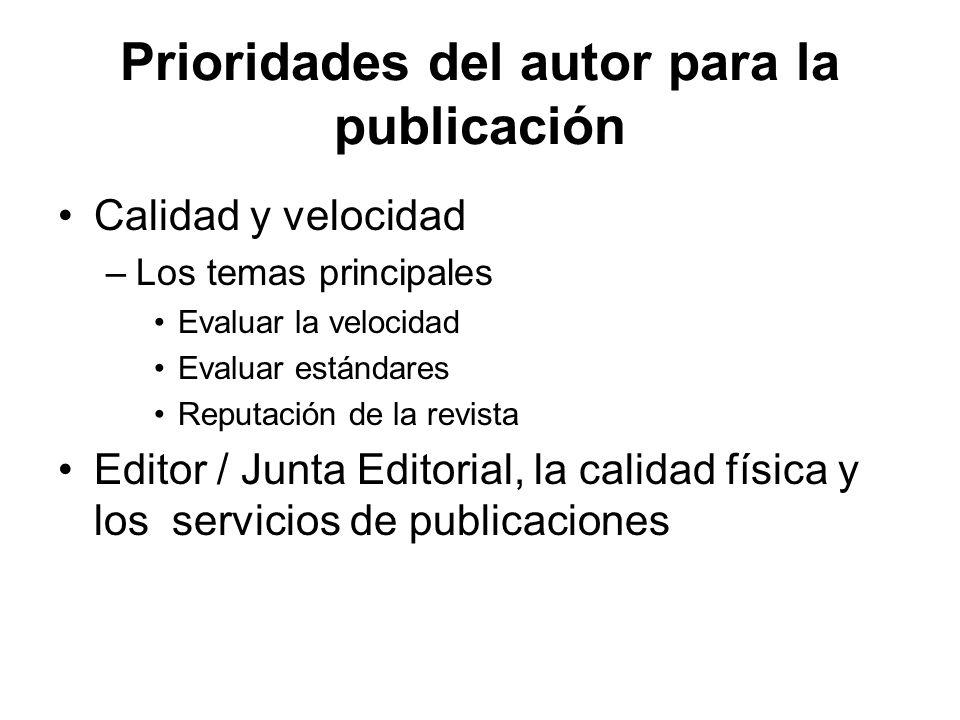 Prioridades del autor para la publicación Calidad y velocidad –Los temas principales Evaluar la velocidad Evaluar estándares Reputación de la revista