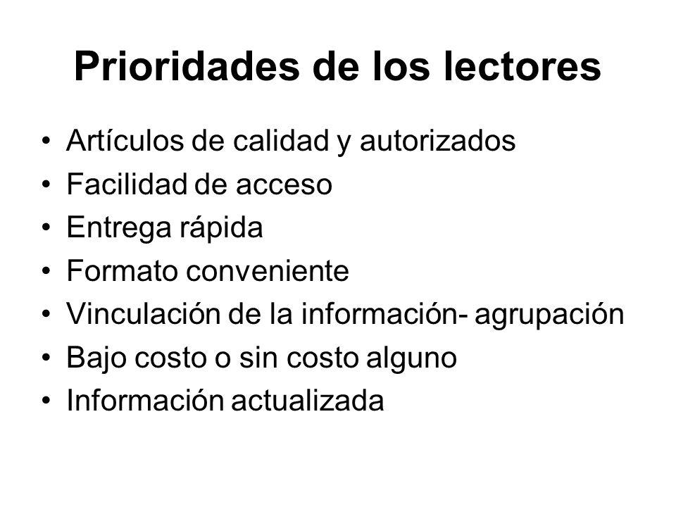 Prioridades de los lectores Artículos de calidad y autorizados Facilidad de acceso Entrega rápida Formato conveniente Vinculación de la información- a