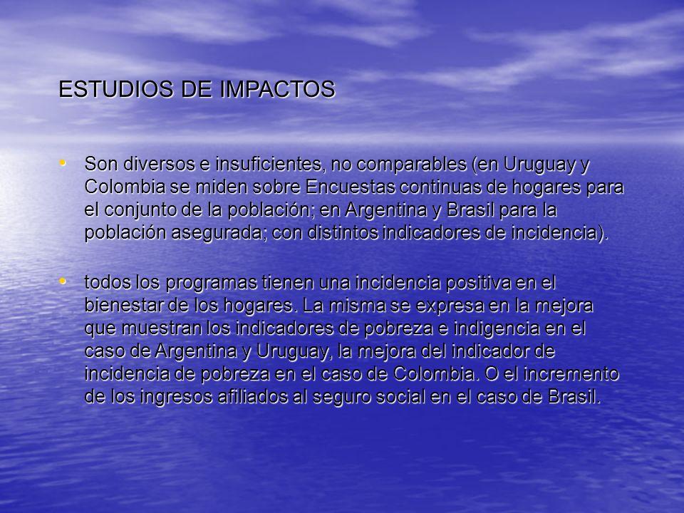 ESTUDIOS DE IMPACTOS Son diversos e insuficientes, no comparables (en Uruguay y Colombia se miden sobre Encuestas continuas de hogares para el conjunt
