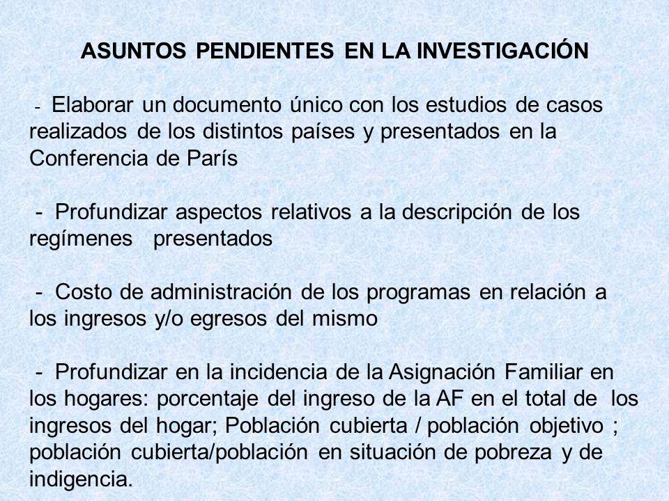 ASUNTOS PENDIENTES EN LA INVESTIGACIÓN - Elaborar un documento único con los estudios de casos realizados de los distintos países y presentados en la