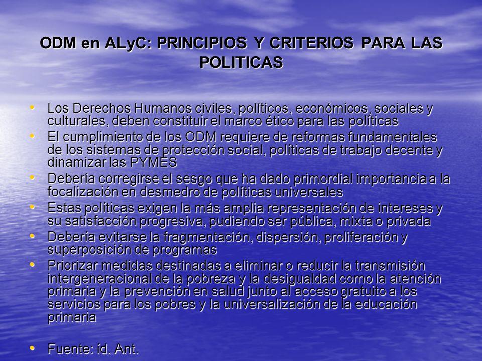 ODM en ALyC: PRINCIPIOS Y CRITERIOS PARA LAS POLITICAS Los Derechos Humanos civiles, políticos, económicos, sociales y culturales, deben constituir el